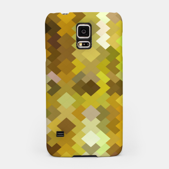 Thumbnail image of geometric square pixel pattern abstract in yellow and brown Samsung Case, Live Heroes