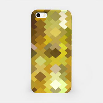Thumbnail image of geometric square pixel pattern abstract in yellow and brown iPhone Case, Live Heroes