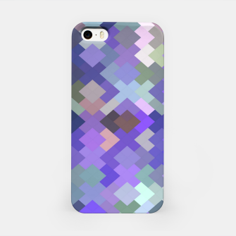 Thumbnail image of geometric square pixel pattern abstract in purple and pink iPhone Case, Live Heroes