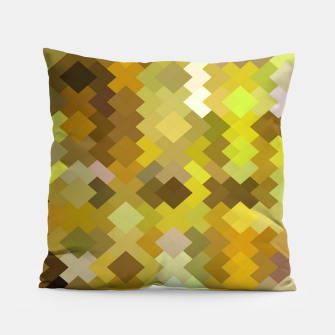 Thumbnail image of geometric square pixel pattern abstract in yellow and brown Pillow, Live Heroes