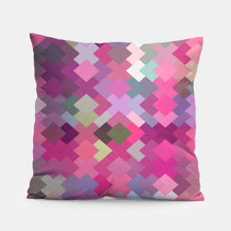 Thumbnail image of geometric square pixel pattern abstract in pink and purple Pillow, Live Heroes
