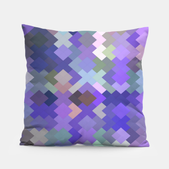 Thumbnail image of geometric square pixel pattern abstract in purple and pink Pillow, Live Heroes