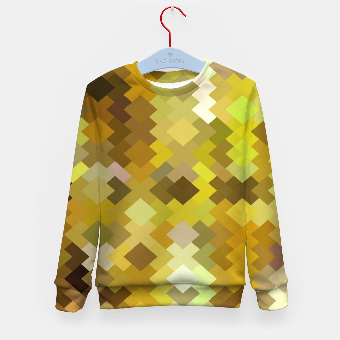 Image of geometric square pixel pattern abstract in yellow and brown Kid's sweater - Live Heroes