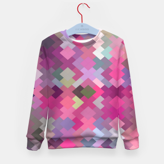 Miniaturka geometric square pixel pattern abstract in pink and purple Kid's sweater, Live Heroes