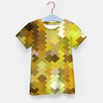 Miniaturka geometric square pixel pattern abstract in yellow and brown Kid's t-shirt, Live Heroes