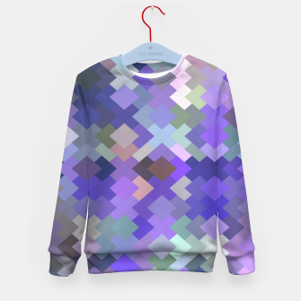 Miniaturka geometric square pixel pattern abstract in purple and pink Kid's sweater, Live Heroes