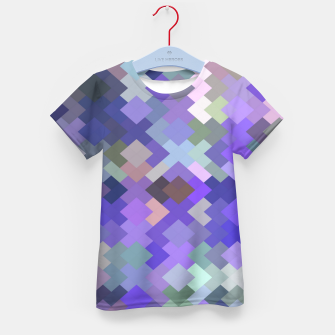 Thumbnail image of geometric square pixel pattern abstract in purple and pink Kid's t-shirt, Live Heroes