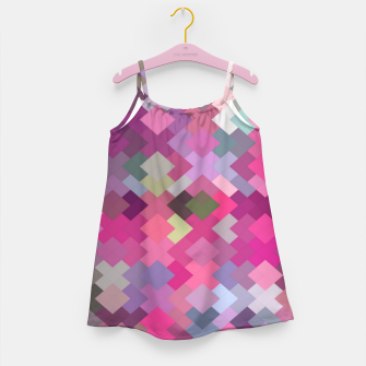 Thumbnail image of geometric square pixel pattern abstract in pink and purple Girl's dress, Live Heroes