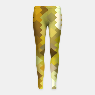 Thumbnail image of geometric square pixel pattern abstract in yellow and brown Girl's leggings, Live Heroes