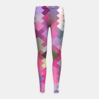 Thumbnail image of geometric square pixel pattern abstract in pink and purple Girl's leggings, Live Heroes