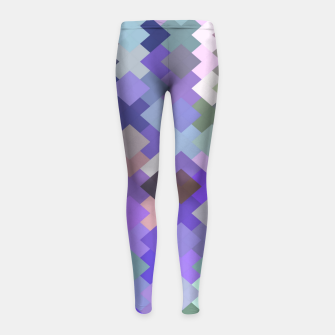 Thumbnail image of geometric square pixel pattern abstract in purple and pink Girl's leggings, Live Heroes