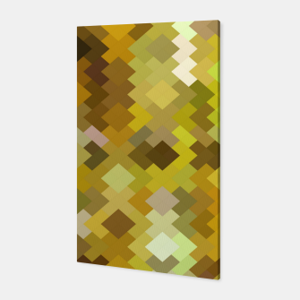 Thumbnail image of geometric square pixel pattern abstract in yellow and brown Canvas, Live Heroes