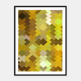 Thumbnail image of geometric square pixel pattern abstract in yellow and brown Framed poster, Live Heroes