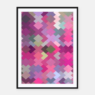 Thumbnail image of geometric square pixel pattern abstract in pink and purple Framed poster, Live Heroes