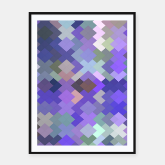 Thumbnail image of geometric square pixel pattern abstract in purple and pink Framed poster, Live Heroes
