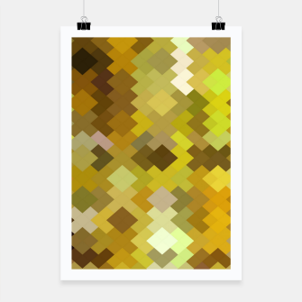 Thumbnail image of geometric square pixel pattern abstract in yellow and brown Poster, Live Heroes
