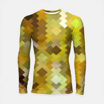 Thumbnail image of geometric square pixel pattern abstract in yellow and brown Longsleeve rashguard , Live Heroes