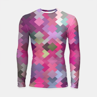 Thumbnail image of geometric square pixel pattern abstract in pink and purple Longsleeve rashguard , Live Heroes