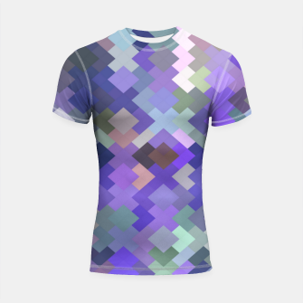 Thumbnail image of geometric square pixel pattern abstract in purple and pink Shortsleeve rashguard, Live Heroes