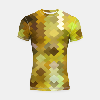 Thumbnail image of geometric square pixel pattern abstract in yellow and brown Shortsleeve rashguard, Live Heroes