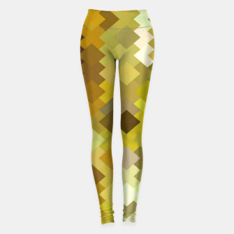 Thumbnail image of geometric square pixel pattern abstract in yellow and brown Leggings, Live Heroes