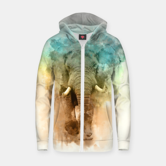 Thumbnail image of Wild Elephant Zip up hoodie, Live Heroes
