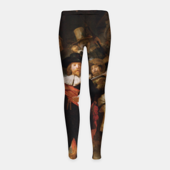 Thumbnail image of La Ronda de Noche by Rembrandt van Rijn - Old Masters Prints Girl's leggings, Live Heroes