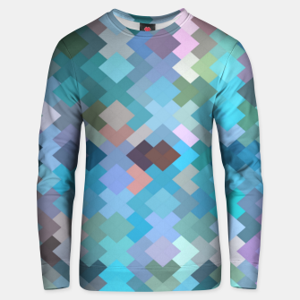 Miniaturka geometric square pixel pattern abstract in blue and pink Unisex sweater, Live Heroes