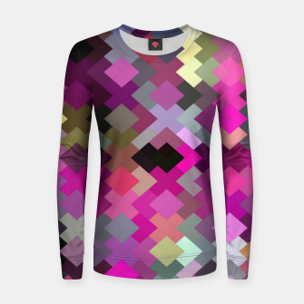 geometric square pixel pattern abstract in purple pink yellow Women sweater thumbnail image