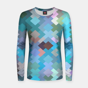 geometric square pixel pattern abstract in blue and pink Women sweater thumbnail image