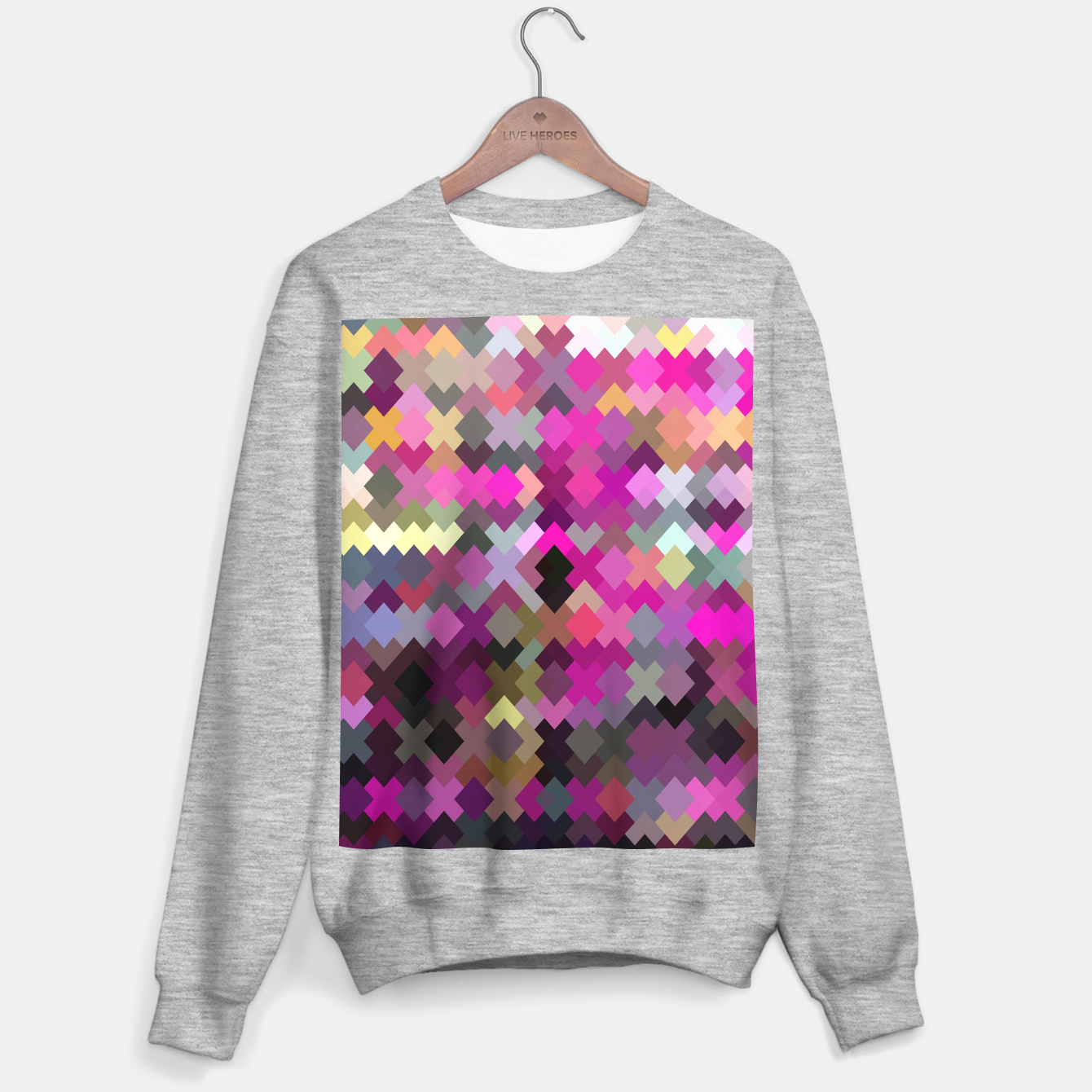 Image de geometric square pixel pattern abstract in purple pink yellow Sweater regular - Live Heroes