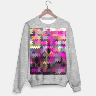 geometric square pixel pattern abstract in purple pink yellow Sweater regular thumbnail image