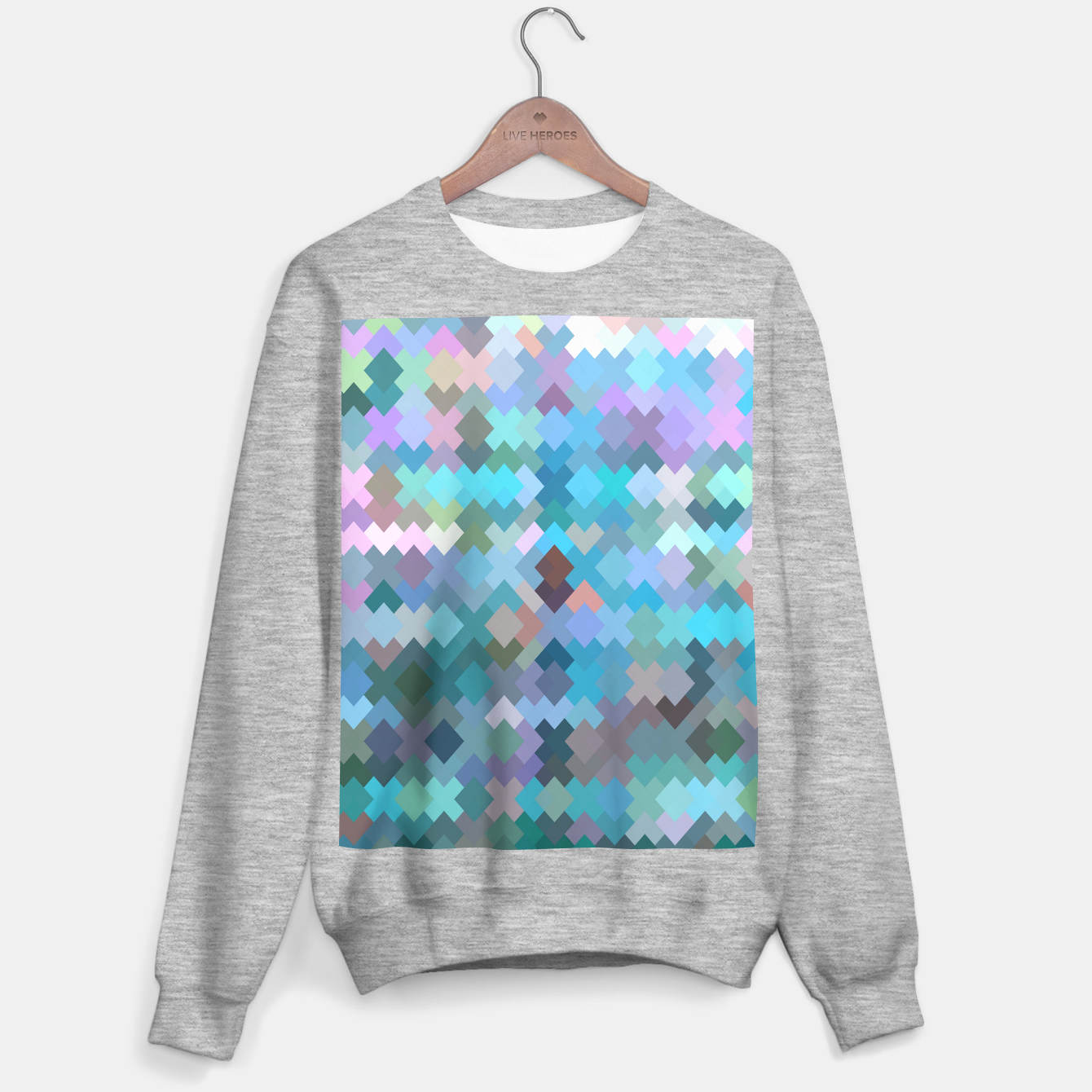 Image of geometric square pixel pattern abstract in blue and pink Sweater regular - Live Heroes