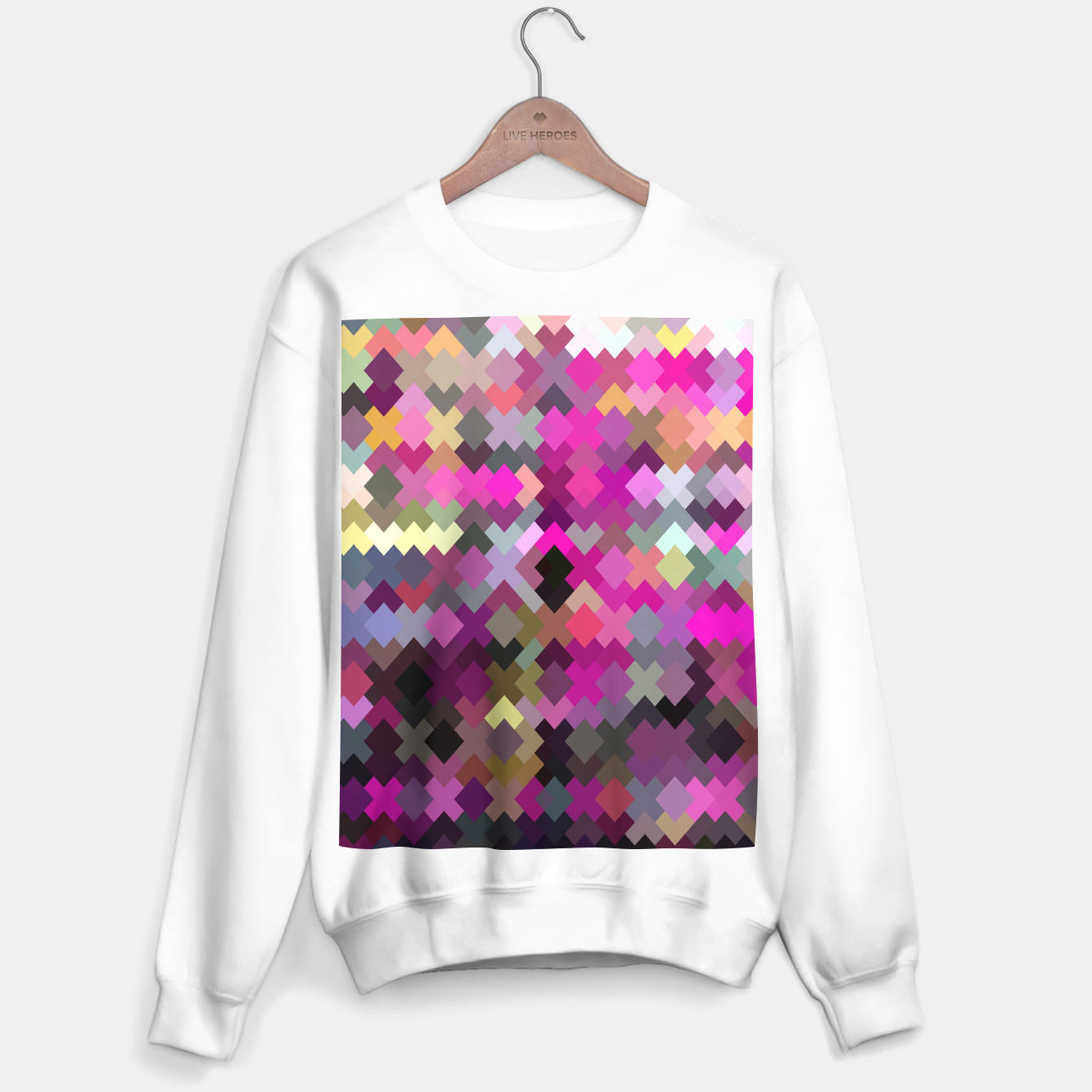 Image of geometric square pixel pattern abstract in purple pink yellow Sweater regular - Live Heroes