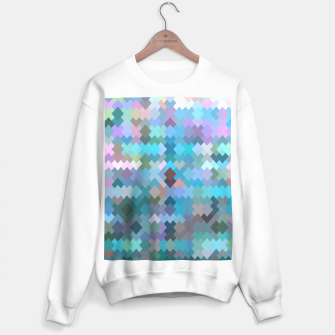 geometric square pixel pattern abstract in blue and pink Sweater regular thumbnail image