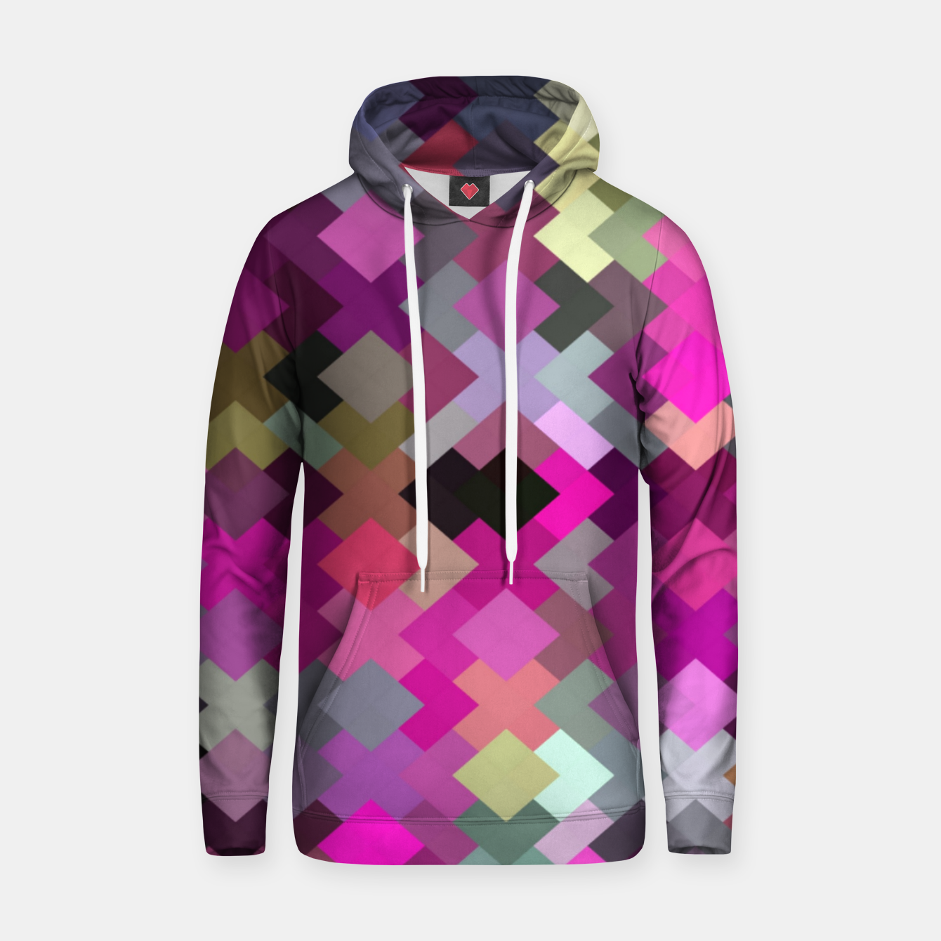 Image of geometric square pixel pattern abstract in purple pink yellow Hoodie - Live Heroes
