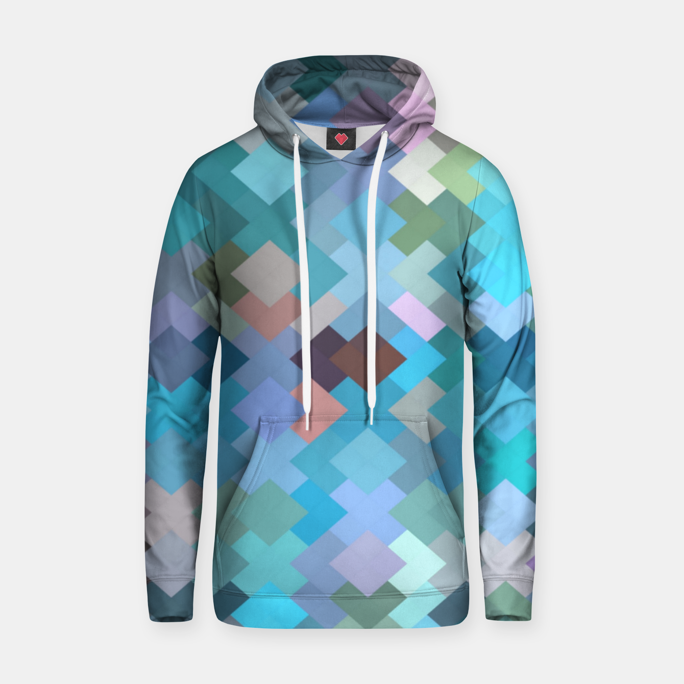 Image of geometric square pixel pattern abstract in blue and pink Hoodie - Live Heroes