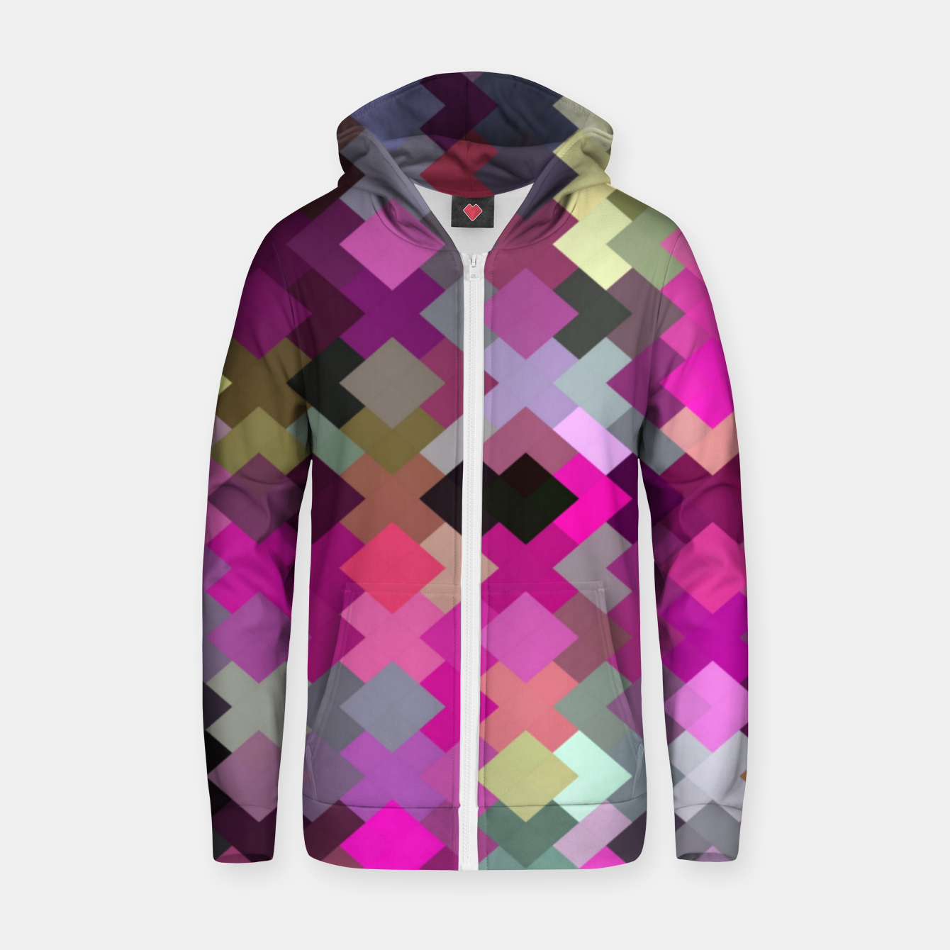 Image of geometric square pixel pattern abstract in purple pink yellow Zip up hoodie - Live Heroes