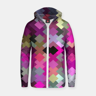 Miniature de image de geometric square pixel pattern abstract in purple pink yellow Zip up hoodie, Live Heroes