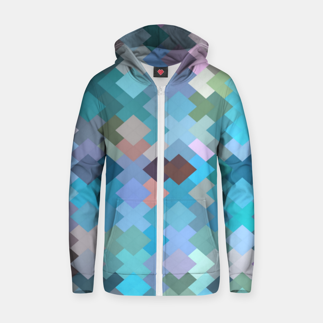 Image of geometric square pixel pattern abstract in blue and pink Zip up hoodie - Live Heroes