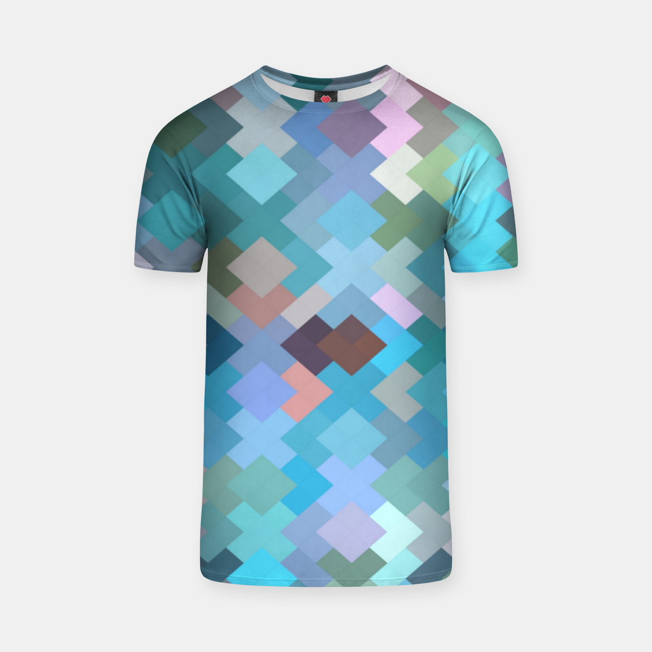 Image of geometric square pixel pattern abstract in blue and pink T-shirt - Live Heroes