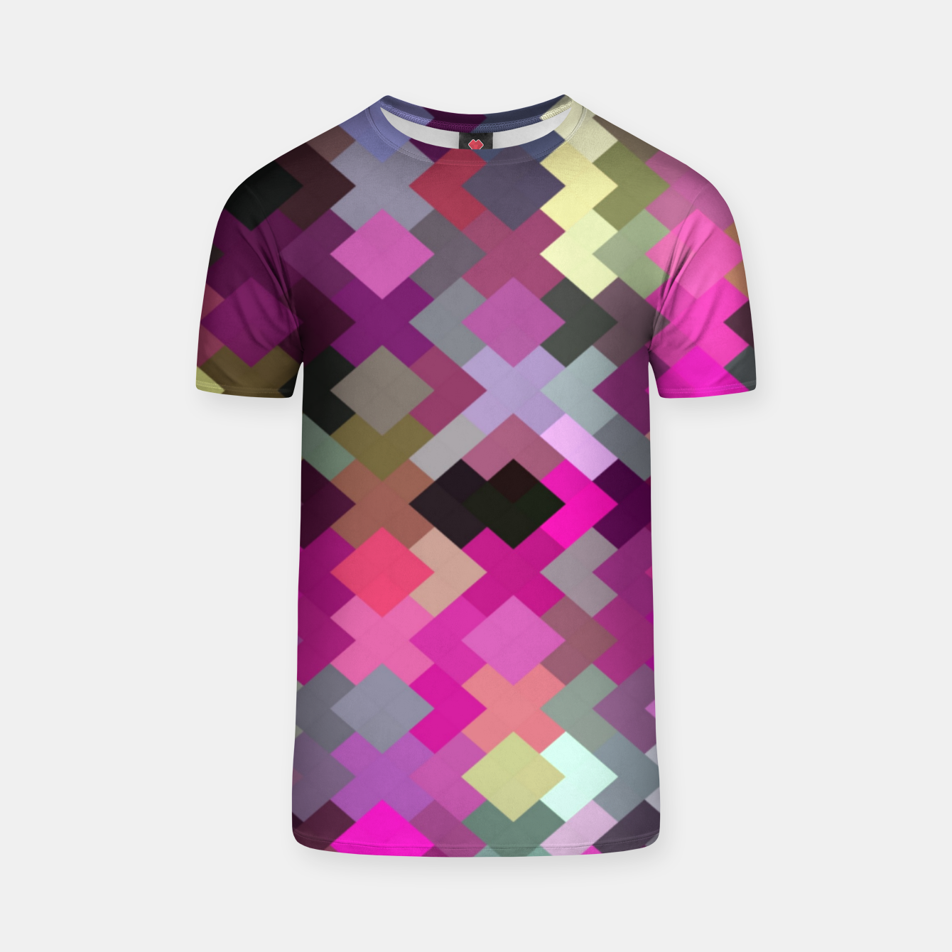 Image of geometric square pixel pattern abstract in purple pink yellow T-shirt - Live Heroes