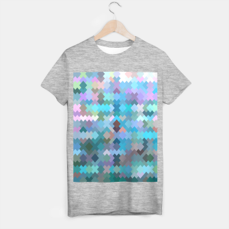 geometric square pixel pattern abstract in blue and pink T-shirt regular thumbnail image