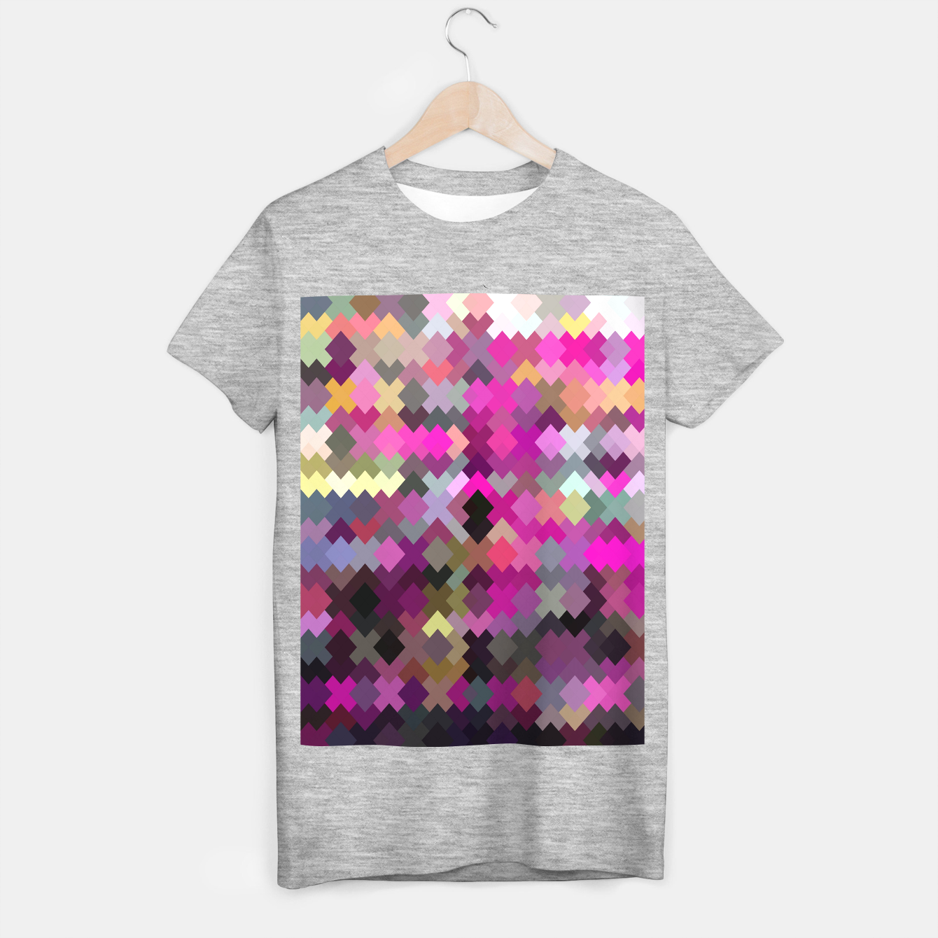 Image of geometric square pixel pattern abstract in purple pink yellow T-shirt regular - Live Heroes