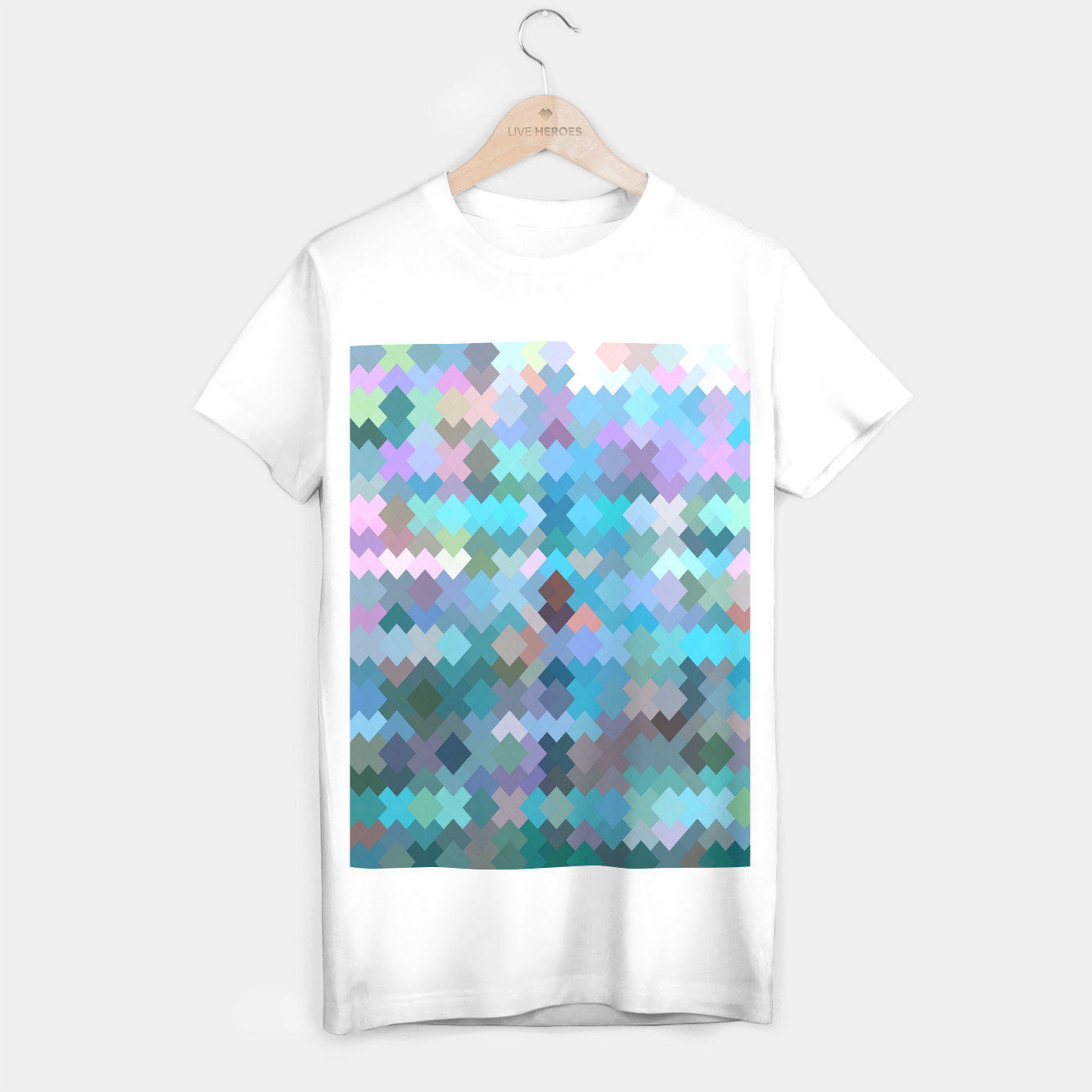 Image of geometric square pixel pattern abstract in blue and pink T-shirt regular - Live Heroes