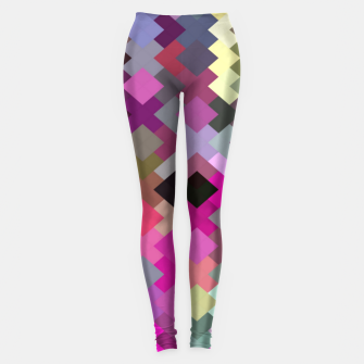 geometric square pixel pattern abstract in purple pink yellow Leggings thumbnail image