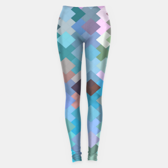 geometric square pixel pattern abstract in blue and pink Leggings thumbnail image