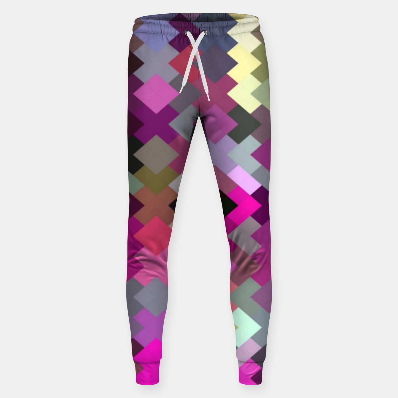 Image of geometric square pixel pattern abstract in purple pink yellow Sweatpants - Live Heroes