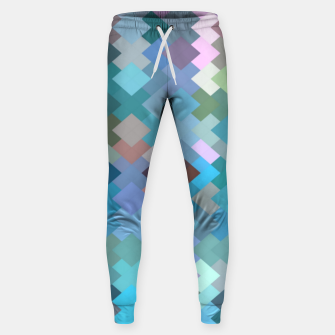 geometric square pixel pattern abstract in blue and pink Sweatpants thumbnail image