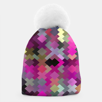 geometric square pixel pattern abstract in purple pink yellow Beanie thumbnail image